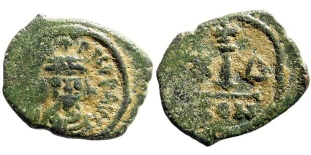 Ancient Coins - Maurice Tiberius, 582-602 AD. AE Dekanummium (2.0 gm, 17mm). Constantinople mint, Off. Delta. Sear 499
