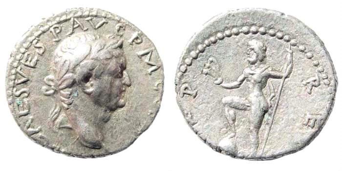 Ancient Coins - Vespasian, 69-79 AD. AR Denarius (3.17 gm, 18mm). Antioch mint. Struck 72-73 AD. RIC II 1555; RPC II 1928