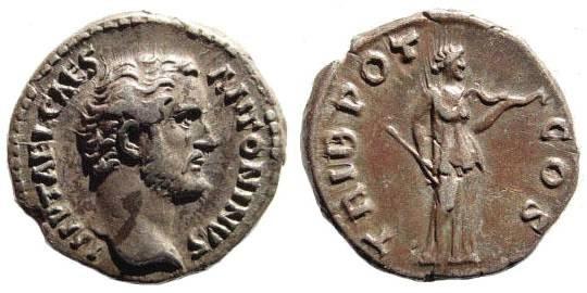 Ancient Coins - Antoninus Pius, as Caesar under Hadrian. AR Denarius (17.5mm, 3.41 gm) Rome, struck 138 AD. RSC 1058