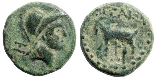 Ancient Coins - Cilicia, Aigeai. Circa 164-47 BC. AE 16mm (5.05 gm). Unpublished variant (?); for countermark, Howgego 372