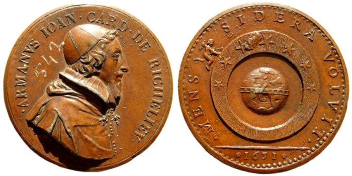 Ancient Coins - France. Cardinal Richelieu, 1585-1642 AD. AE Medal (54mm). Jean Warin's Tribute Medal, old afterstrike