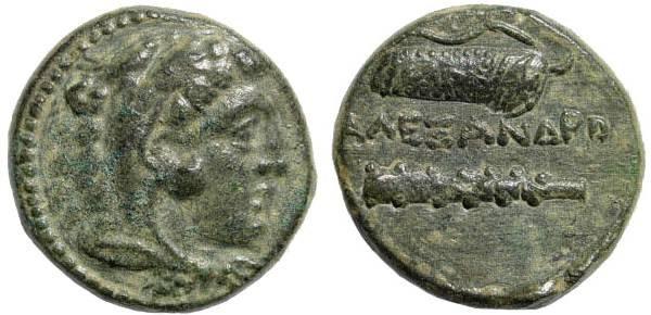 Ancient Coins - Macedonian Kingdom, Alexander III, 336-323 BC, AE 18mm (5.86 gm.). Uncertain Macedonian mint. SNG München 827
