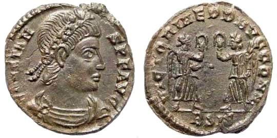 Ancient Coins - Constans, 337-350 AD. AE Follis (1.67 gm, 16mm). Siscia mint, 347-348 AD. RIC 182; LRBC 790