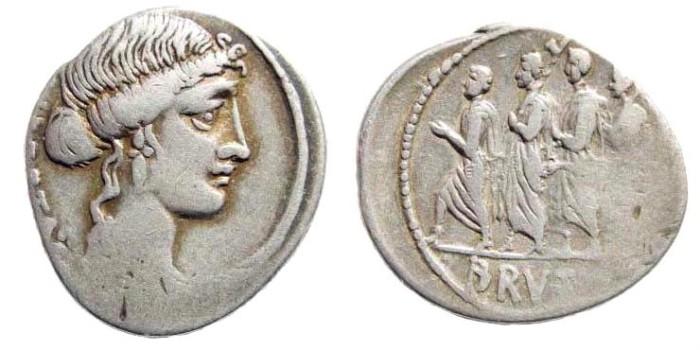 Ancient Coins - M. Junius Brutus, 54 BC. AR Denarius (3.58 gm, 20mm). Junia 31a; Sydenham 906a; Crawford 433/1