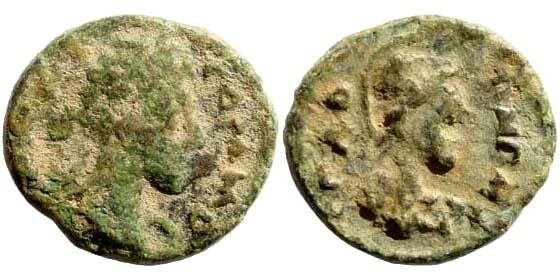 Ancient Coins - Syria, Decapolis. Gadara. Commodus. 177-192 AD. AE 15mm (2.10 gm). Dated year 243, 179/80 AD. Spijkerman 64