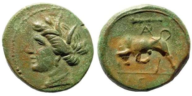 Ancient Coins - Sicily. Syracuse. Hieron II, 275-215 BC. AE 17mm (3.81 gm). SNG John Morcom 812