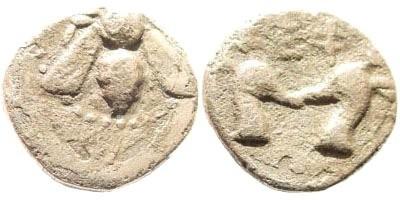 Ancient Coins - Ionia, Ephesos. Circa 390-330 BC. AR Rhodian Standard Diobol (1.12 gm, 11mm). SNG Kayan 194