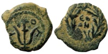 Judaea, Herodians. Herod Archelaus. 4 BC-6 AD. AE Prutah (1.48 gm). Jerusalem mint. RPC I 4913