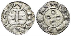 World Coins - France, Provincial. Melgueil. Uncertain Count or Bishop. 13th century AD. BI Denier (18mm, 0.99 g, 12h). Duplessy, Feodales 1578
