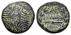 Ancient Coins - Lydia. Philadelphia. Circa 1st century BC. AE 15mm (3.18 gm). Unrecorded monogram (?)