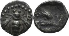 Ancient Coins - Ionia, Ephesos. Circa 500-420 BC. AR Milesian standard 1/64th Stater (0.16 gm, 6mm). SNG Kayan 126