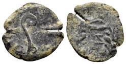 Ancient Coins - Judaea, Roman Procurators. Pontius Pilate, 26-36 AD. AE Prutah (1.64 gm, 17mm). Jerusalem mint. Dated year 17 (30 AD). Hendin 649