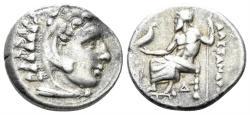 Ancient Coins - Macedonian Kingdom. Alexander III the Great. 336-323 BC. AR Drachm (4.24 gm, 18mm). Lampsakos mint. Struck circa 328-323 BC. Price 1412
