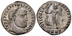 Ancient Coins - Licinius I. 308-324 AD. AE Silvered Follis (3.94 gm, 22mm). Heraclea mint. Struck 313-314 AD. RIC VII 6