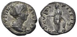 Ancient Coins - Faustina II. Augusta, 147-175 AD. AR Denarius (3.47 gm, 18mm). Rome mint. Struck circa 154-157 AD. RIC III 495a