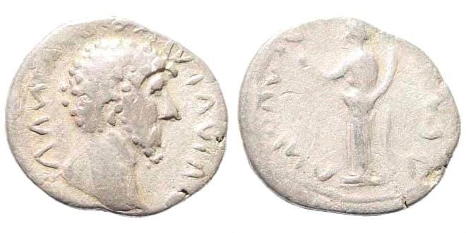 Ancient Coins - Lucius Verus, 161-169 AD. AR Denarius (3.10 gm). Contemporary imitation. Cf. RIC III 482 (Marcus Aurelius); cf. RSC 155