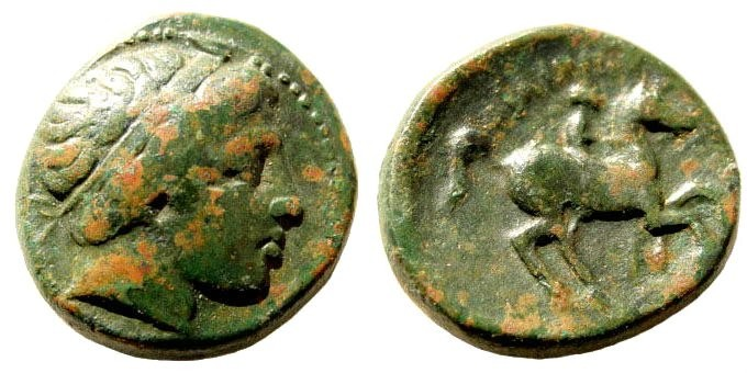 Ancient Coins - Macedonian Kings. Philip II, 359-336 BC. AE 18mm (6.4 gm). Uncertain mint. SNG ANS 897