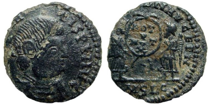 Ancient Coins - Magnentius, 350-353 AD. AE 18mm (1.74 gm). Barbaric issue
