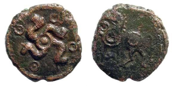 Ancient Coins - Celtic, Central Europe. Aduatuci. 1st century BC. AE 15mm (2.01 gm). Scheers, TC 822