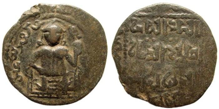 Ancient Coins - Begteginid, Muzaffar al-din Kokburi. Irbil. AH 586-630 (AD 1190-1232). AE Fals (10.44 gm, 28mm). BMC 3; 669. Scarce