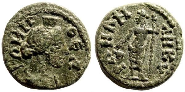 Ancient Coins - Phrygia, Ankyra. Severan Period, 193-217 AD. AE 17mm (2.84 gm). BMC 60, 17. SNG von Aulock 3428. SNG Copenhagen 134