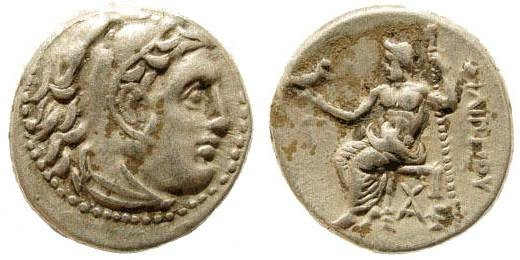 Ancient Coins - Macedonian Kings. Philip III. 323-317 BC.. AR Drachm (4.22 gm, 17mm). Side 322-316 BC. Price P123