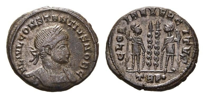 Ancient Coins - Constantius II, as Caesar, 324-337 AD. AE Silvered Follis (3.07 gm, 17mm). Trier mint, 332-333 AD. LRBC 56