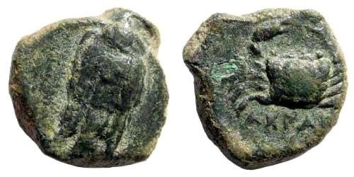 Ancient Coins - Sicily, Akragas. Circa 338-317 BC. AE Onkia (2.13 gm, 13mm). SNG ANS 1103