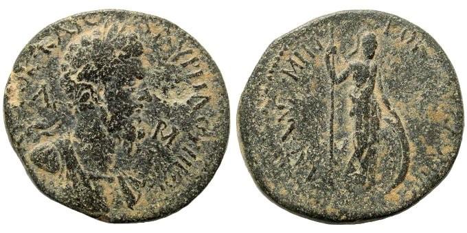 Ancient Coins - Lycaonia, Laranda. Marcus Aurelius. 161-180 AD. AE 26mm (10.00 gm). Unpublished