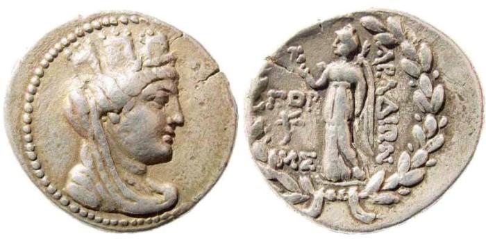 Ancient Coins - Phoenicia, Arados. Circa 138/7-44/3 BC. AR Tetradrachm (14.91 gm, 28mm). Dated CY 173 (87/86 BC). BMC 231