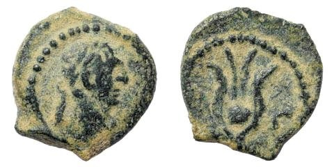 Ancient Coins - Egypt, Alexandria. Trajan, 98-117 AD. AE 12mm/ Dichalkum (1.32 gm). Dated year 3,  100-101 AD. Emmett 1189