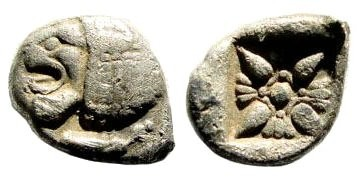 Ancient Coins - Ionia, Miletos, late 6th-early 4th century BC, AR 1/12th Stater (0.91 gm, 11mm). SNG Helsinki II, 264