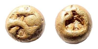 Ancient Coins - Ionia, Uncertain. Circa 600-550 BC. EL Milesian standard 1/24 Stater (0.62 gm). cf. SNG Kayhan 708