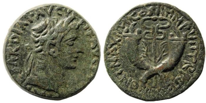 Ancient Coins - Syria, Commagene. Tiberius. 14-37 AD. AE Dupondius (20.37 gm). Struck 19-21 AD. RPC 3869; RIC I 90