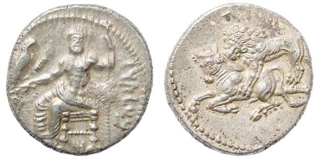 Ancient Coins - Cilicia. Tarsos, Satrapal Coinage. Mazaios, circa 361-334 BC. AR Stater (10.79 gm, 23mm). SNG Levante 106