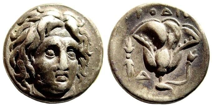 """Ancient Coins - Caria, Rhodes. Circa 305-275 BC. AR Didrachm (6.67 gm, 19mm). Rodios magistrate. Ashton, """"Rhodian Coinage and the Colossus,"""" RN (1988), Series 2"""