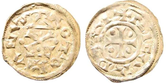 Ancient Coins - France, Normandy, Rouen. Richard I, 943 - 996. AR Denier (1.32 gm, 21mm). Dumas, Fécamp, 21
