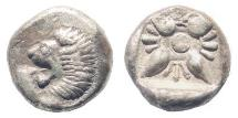 Ancient Coins - Ionia, Miletos. Late 6th-early 4th century BC. AR 1/12th Stater (1.13 gm, 10mm). SNG Helsinki II 267