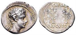 Ancient Coins - Augustus. 27 BC-14 AD. AR Denarius (3.64 gm, 20mm). Uncertain Spanish mint (Colonia Caesaraugusta?). Struck 19-18 BC. RIC I 33a