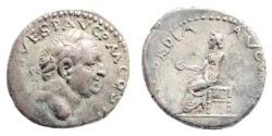 Ancient Coins - Vespasian. 69-79 AD. AR Denarius (3.30 gm, 18mm). Antioch mint. Struck 72-73 AD. RIC II 1554