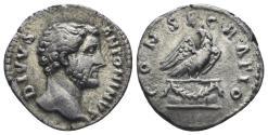Ancient Coins - Divus Antoninus Pius. Died 161 AD. AR Denarius (2.74 gm, 16mm). Consecration issue. Rome mint. Struck 161 AD. RIC III 431