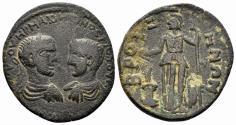 Ancient Coins - Phrygia. Bruzos. Maximinus I, with Maximus Caesar, 235/6-238 AD. AE Tetrassarion (7.66 gm, 28mm). RPC VI online 5624. Rare