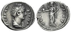 Ancient Coins - Diva Faustina. Died 141 AD. AR Denarius (3.29 gm. 18mm). Rome mint. RIC III 351 (Pius)