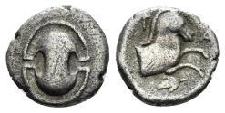 Ancient Coins - Boeotia. Tanagra. Circa 400 BC. AR Obol (0.66 gm, 9mm). BCD Boeotia 297; BMC 45