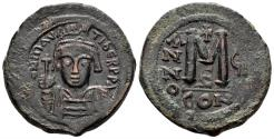 Ancient Coins - Maurice Tiberius. 582-602. AE Follis (11.74 gm, 29mm). Constantinople mint, 5th officina. Dated RY 7 (588/9). SB 494