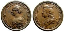 World Coins - France, Provincial. Lorraine (duché) . Simon II, with Ida de Vienne. AE Medal (53 gm, 47mm). Made by Ferdinand de Saint-Urbain. Late 17th century. Forrer.V.p.310, 27
