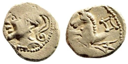 Ancient Coins - Gaul, Allobroges. 121-75 BC. AR Quinarius (2.33 gm, 14mm). LT 2924