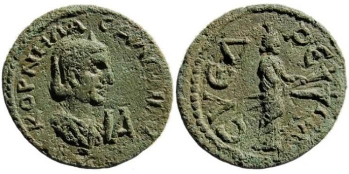 Ancient Coins - Cilicia, Syedra. Salonina, wife of Gallienus. Augusta, 254-268 AD. Æ 11 Assaria (29mm, 16.33 gm). SNG Levante 447 (same dies)