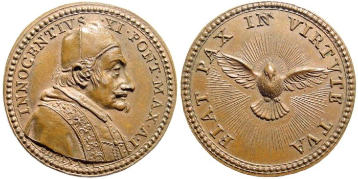 Ancient Coins - Italy, Papal Medals. Innocent XI (Benedetto Odescalchi), 1676-1689. AE Medal (31.6mm, 13.99 gm). Giovanni Hamerani, engraver. Dated year 1, 1676/7. Possesso del Laterano