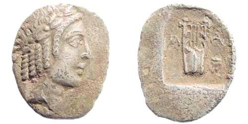 Ancient Coins - Lykian League, Masikytes. Period IV. Circa 42 BC. AR Hemidrachm/ Kitharephoroi (1.20 gm, 14mm). Troxell 110.8